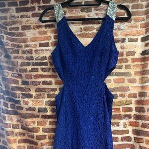 Mini side cut out navy lace dress w/ silver strap